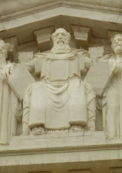 Moses stares down from the frontispiece of the U.S. Senate.