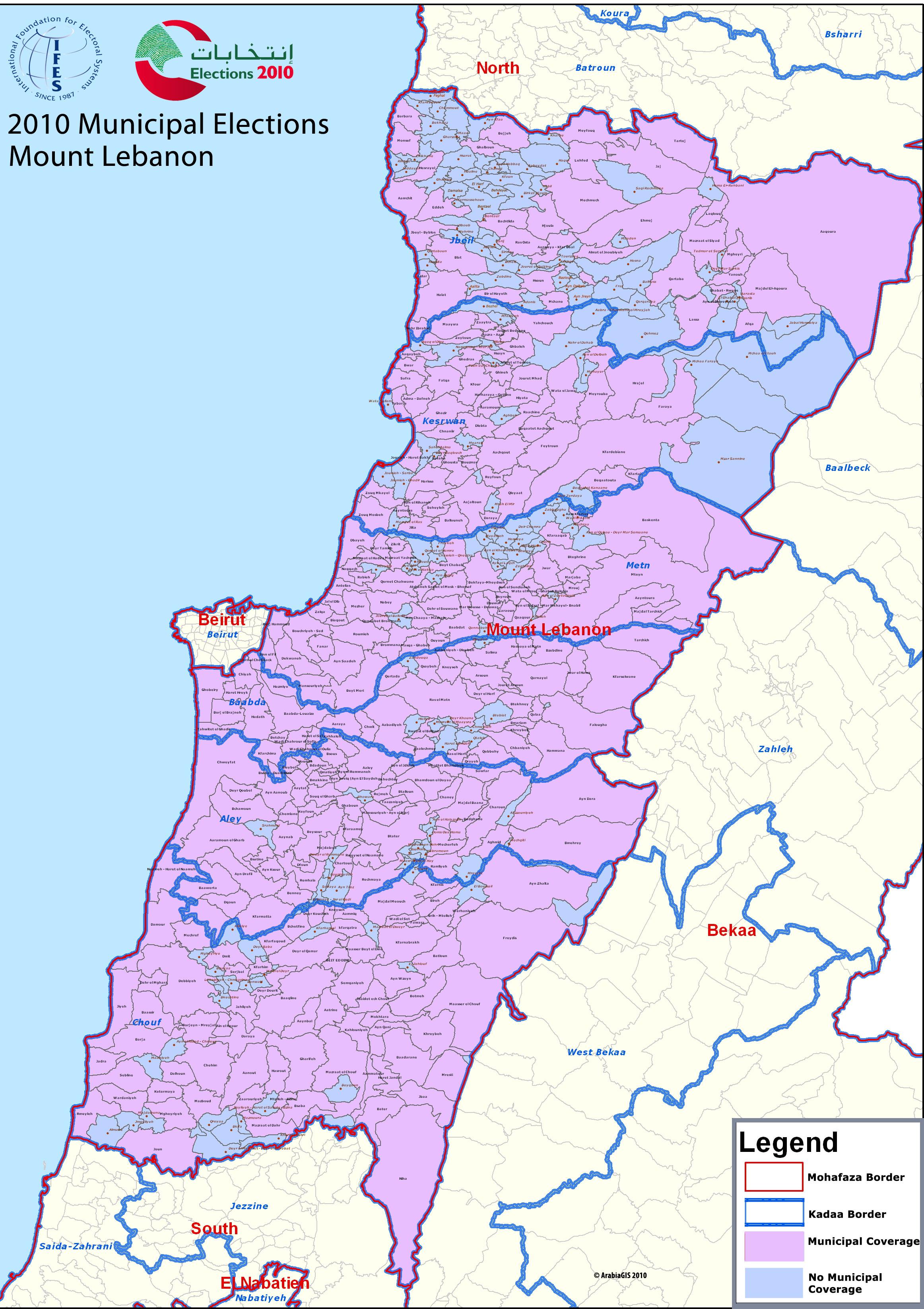 World Map Lebanon