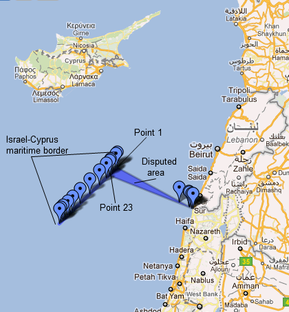 Google map of disputed maritime zone - Courtesy of Qifa Nabki